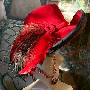 Vintage Don Anderson Red Wool Felt Breton Hat